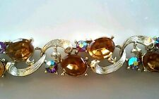 LISNER TOPAZ AB RHINESTONE DEMI PARURE NECKLACE CLIP EARRINGS GOLD RHODIUM C 50