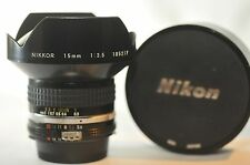 Nikon Nikkor 15mm f/3.5 AI-S rectilinear lens for FM2N F3HP FA FE F5 D3 D4 F2 FG