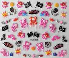 Nail art autocollants stickers ongles: Décorations Halloween têtes de mort