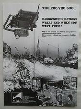 7/1981 PUB MBLE RADIO MILITAIRE PRC/VRC-600 RADIOCOMMUNICATIONS ARMEE BELGE AD