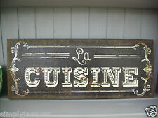 Shabby French Chic Style Canvas Wall Plaque LA CUISINE Hessian Picture Print
