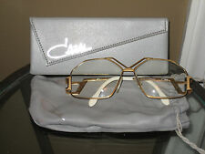 VINTAGE CAZAL eyeglasses gold frames with leather pouch and box cool shape