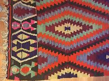 6.5' X 10' Vintage Turkish Kilim Wool Carpet Rug - Colorful Diamond Design