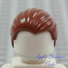 NEW Lego Minifig Combed back BROWN HAIR Slicked w/Widows Peak Male Boy Head Gear