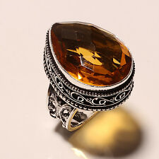 CITRINE GEMSTONE .925 STERLING SILVER RING 0167 SIZE 8.5""