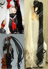 Blade & Soul BOSS Pohwaran Long Black White Cosplay Party Wig Hair Clip Ponytail