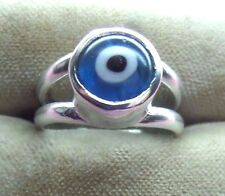 "Handcrafted Blue Evil Eye  "" Amulet ""Sterling Silver 925 Ring skaisAU16"