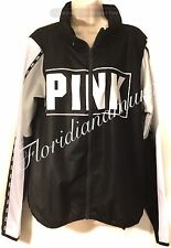 New Victoria's Secret PINK Black White Gray Zip Anorak Jacket Light XS/S NWT