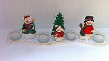 SCHNEEMANN Adventskranz Weihnachten Winter mit 4Teelichthalter+Kerzen HOLZ NEU