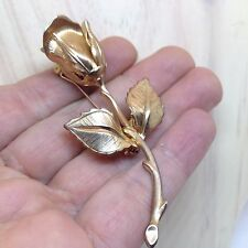 Vintage Signed GIOVANNI LONG STEM ROSE FLOWER BROOCH PIN Gold Tone Jewelry