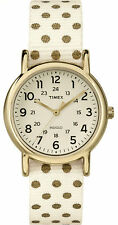 "Timex TW2P65400, Women's ""Weekender"" Polka Dot Fabric Strap Watch, Indiglo,"