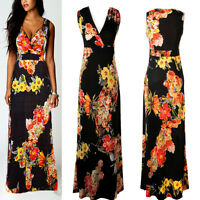 New Women Summer Boho Floral Maxi Evening Party Dress Beach Long Dress Size 8-24