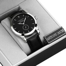 NEW ANTHONY JAMES MENS ANALOG QUARTZ WRIST WATCH DESIGNER LEATHER STRAP BLACK