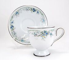 Noritake LIMERICK 3063 Footed Cup and Saucer Set 3.25 in. Ireland Blue Flowers