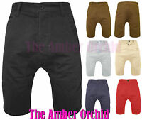 MENS DROP CROTCH SUMMER CHINO COTTON SHORTS JEANS SIZES 28 30 32 34 36