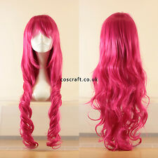 80cm long wavy curly cosplay wig in fushia hot pink, UK seller, Jeri style