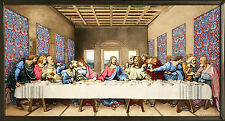 """CHRISTIAN GIFT: Glassmasters Jesus """"THE LAST SUPPER"""" Stained Glass Panel,  NIB"""