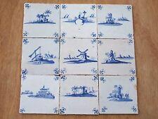 9x Delft Blue Tiles Landscape 17th century