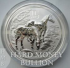 2014 - 2 oz (two oz) *BU* Silver Australian Perth Mint Lunar Year of Horse Coin
