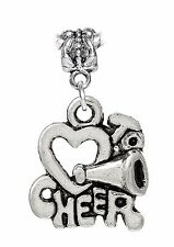 Cheerleader Heart I Love to Cheer Dangle Bead for Silver European Charm Bracelet