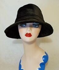 FABULOUS FRENCH VINTAGE 1920s FLAPPER BLACK VELVET BRIMMED CLOCHE HAT SUPERB