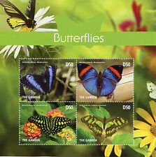 Gambia 2015 MNH Butterflies 4v M/S II Insects Blue Morpho Malachite Stamps