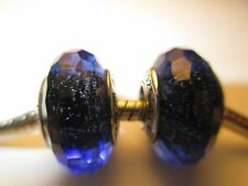 2X Authentic Pandora Silver 925 Blue Fascinating Iridescence Murano Bead Charm