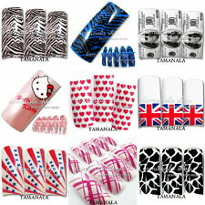70 PCS AIRBRUSH PRE-DESIGN White  FRENCH False ACRYLIC NAIL ART Pattern Random