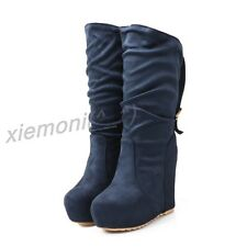 Women Pull On Fau Suede Wedge Mid CALF Boots Platform Winter Buckle Shoes Slouch