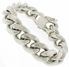 MIAMI CUBAN BIKER 67 GMS MENS HEAVY CHAIN BRACELET IN 925S STERLING SILVER 14 MM