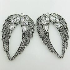 19995 4pcs Vintage Silver Alloy Filigree 60mm Hollow Angel Wings Feather Pendant
