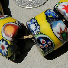 6 old antique venetian cylindrical millefiori african trade beads #3157