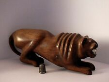Early Heavy HandCarved Hardwood Tiger Figurine with Bone Teeth - Chinese/Indian?