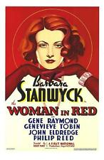 The Woman in Red Vintage Movie Poster Lithograph Barbara Stanwyck Hand Pulled S2