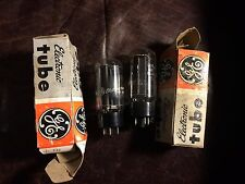 Matched Pair NOS NIB GE 5U4GB Black Plate Rectifier Tubes 1960s Tested Perfect