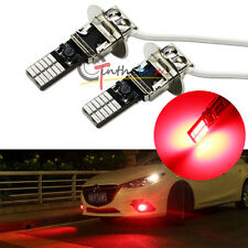 2X Brilliant Red 24-SMD High Power H3 LED Bulbs For Fog Lights DRL Driving Lamps