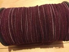 2m Claret 3mm Real Suede Leather Cord Thong Laces Free Postage & Packing