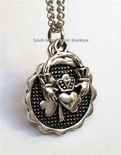 Silver Shamrock Claddagh Necklace Pendant Irish Celtic 20 in Stainless Steel USA