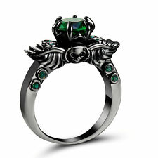 Woman's Size 9 Princess Cut Emerald Black Rhodium Plated Ring For Wedding gift