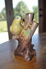 Madein Vintage Czech Pottery Bird Planter Vase Hand Paint Yellow Green Songbird