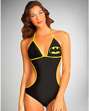 Batman Monokini Swimsuit DC Comics Licensed Bathing Suit Size S Bat Logo NWT