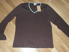cotton traders ladies velvet trim top size 14 brand new with tags dark brown