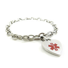MyIDDr - Womens Diabetes Type 2 Bracelet Medical Alert Charm Steel, Pre-Engraved