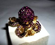 OCTOPUS RING PURPLE LAVENDER AUSTRIAN CRYSTALS GOLDTONE SIZE 7 NWT