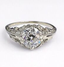 1.88 Carats Antique Art Deco Solitaire Diamond Ring GIA Certificate Included 50s