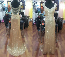 Sexy Gold sequins Long Prom Dresses Formal Evening Party dress Ball Gown Custom