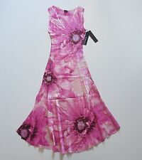 NWT KOMAROV Pink Floral Lace Trim Inset Crinkle Sleeveless V-Neck Dress M $278