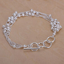"Unisex Women's 925 Sterling Silver Bracelet Adjustable Size"" L1"
