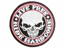 LIVE FREE RIDE HARDCORE Biker Skull Embroidered Iron On Shirt Jeans Badge Patch