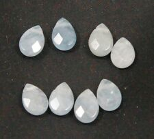 Natural AQUAMARINE faceted tear drop bead / strand 7mm(w) x 10mm(l) - 8 beads
